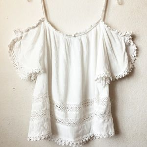 patrons of peace lace off shoulder tank
